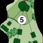 Hole #5 Don't let this short hole fool you.  Short, right, left, long, can put you in trouble.  OB is long and left.  This small green is a difficult one to hit.  Pay attention to the wind.